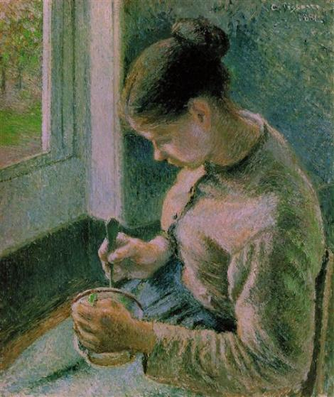 Peasant girl drinking her coffee