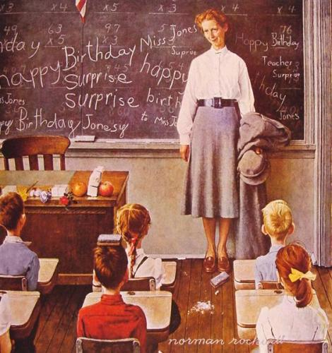 Teacher's Birthday by Norman Rockwell