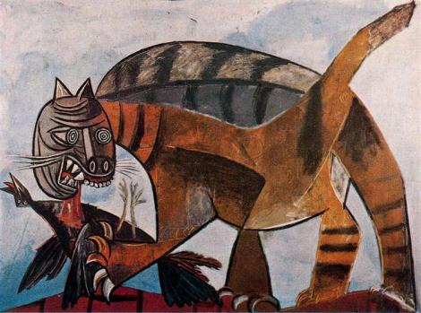 Cat eating a bird by Pablo Picasso