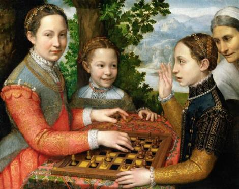 Lucia, Minerva And Europa Anguissola Playing Chess by Sofonisba Anguissola