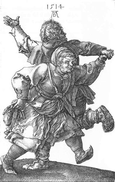 Peasant couple dancing by Albrecht Dürer