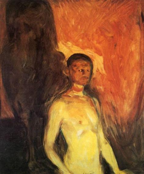 Self portrait in hell by Edvard Munch