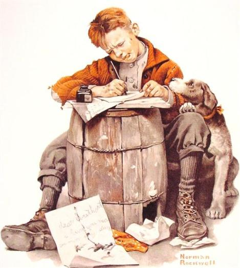 Little Boy Writing a letter by Norman Rockwell