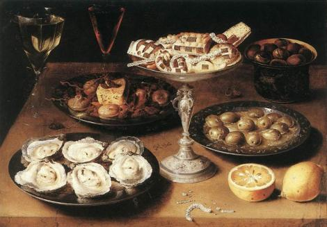 Still Life With Oysters And Pastries by Osias Beert
