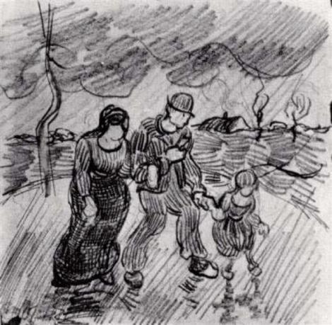Couple Walking Arm In Arm With A Child In The Rain by Vincent van Gogh