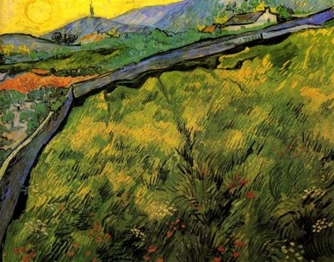 Field Of Spring Wheat At Sunrise by Vincent van Gogh