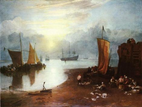 Sun Rising Through Vagour Fishermen Cleaning And Sellilng Fish by William Turner