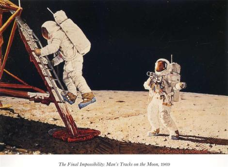 The Final Impossibility: Man's Tracks On The Moon by Norman Rockwell